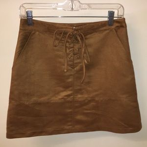 Suede tan mini skirt